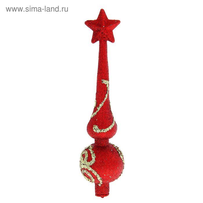 "Верхушка на ёлку ""Узорная"" красная"