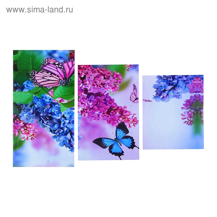 """Модульная картина на холсте с подрамником """"Бабочка в цветах"""""""