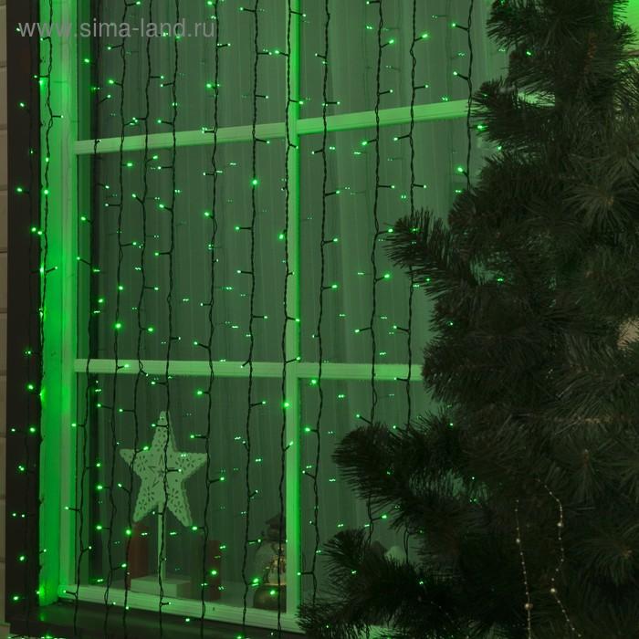 """Гирлянда """"Занавес"""" улич. УМС, Ш:2 м, В:3 м, Н.Т. 2W LED-760-220V, БЕЗ контр. фикс ЗЕЛЕНЫ"""