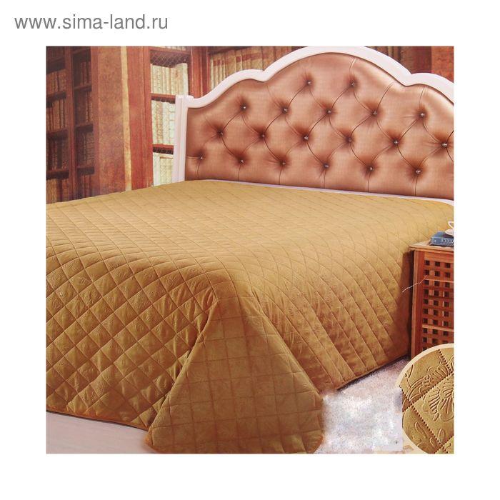 """Покрывало """"Этель Элегант"""" евро Золото 200*220 см, 80% микрофибра, 20% бамбуковое волокно"""