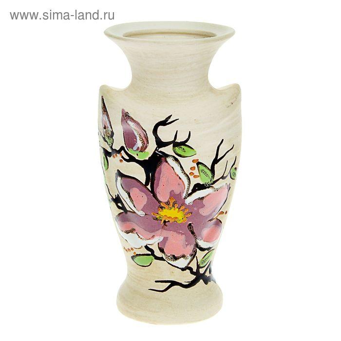 """Ваза """"Амур"""" малая, цветы, шамот, глазурь"""