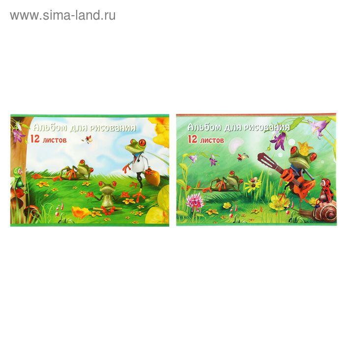 Альбом для рисования А4, 12 листов на скрепке Lovely frogs, обложка картон 170-190г/м2, блок офсет 100г/м2, МИКС
