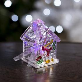 """Игрушка световая """"Домик снеговика"""" (батарейки в комплекте) 1 LED, RGB"""