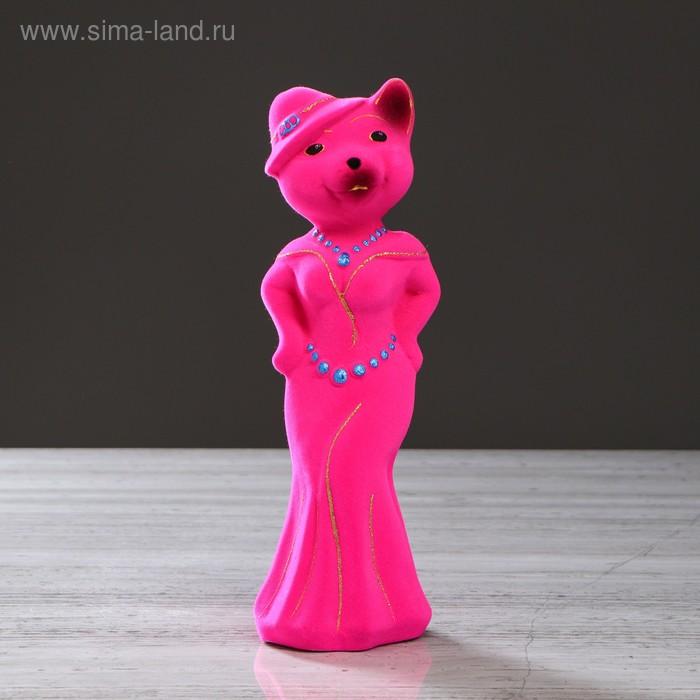 "Копилка ""Миледи кошка"" малая, флок, розовая"