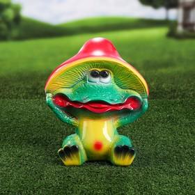 """Садовая фигура """"Лягушка в грибочке"""""""