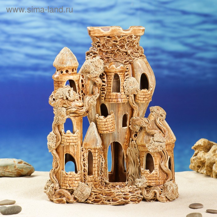 """Декорации для аквариума """"Замок-ракета"""""""