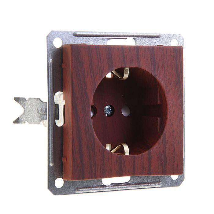"""Розетка """"W59"""" SchE RS16-152-9-86, 16 А, одноместная, скрытая, с з/к, цвет мореный дуб"""