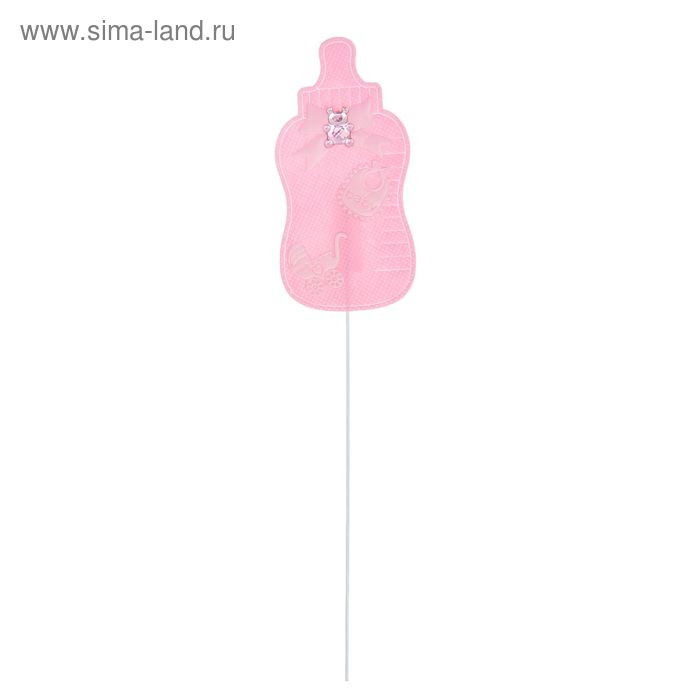"""Декор на палочке """"Бутылочка"""", набор 6 шт., цвет розовый"""