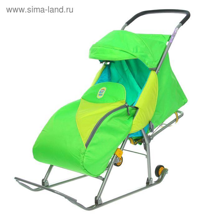 """Санки-коляска """"Тимка Премиум"""" с колёсами, цвет зелёный"""