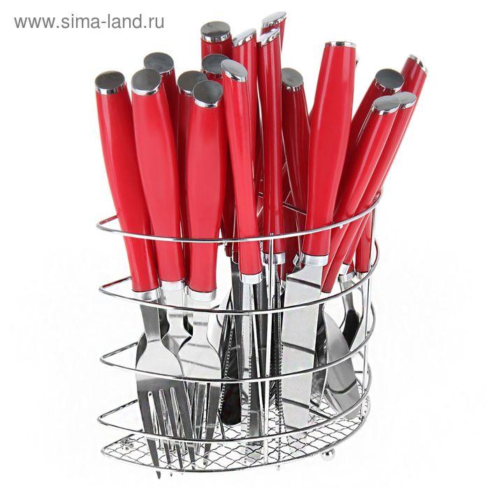 """Набор столовых приборов """"Вито"""", 24 предмета, красный"""