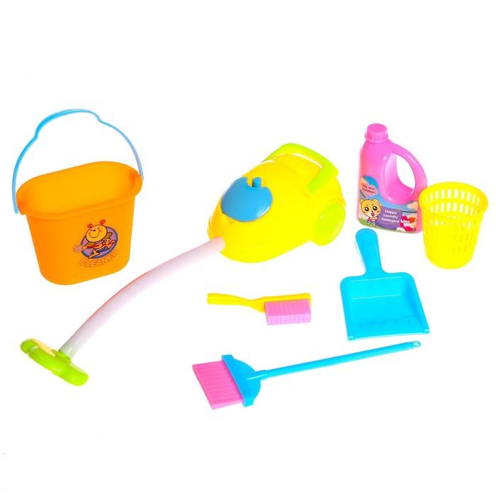 """Набор игровой """"Хозяюшка"""", 7 предметов: пылесос, ведро 2 шт, спрей, щётка, метёлка, совок"""