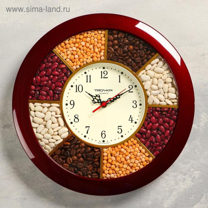 """Часы настенные круглые """"Специи"""", бордовый обод, 29х29 см"""