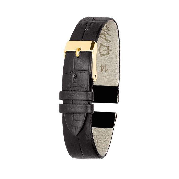 Ремень кожаный женский, присоед. р-р 14 мм, отделка крокодил, черный микс