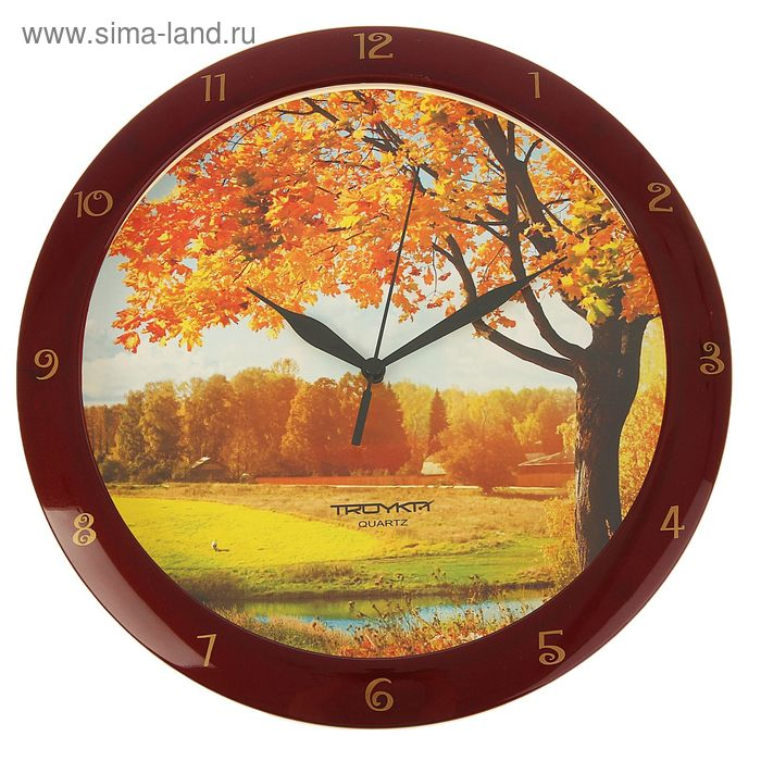 "Часы настенные круглые ""Осень"", бордовый обод, 29х29 см"