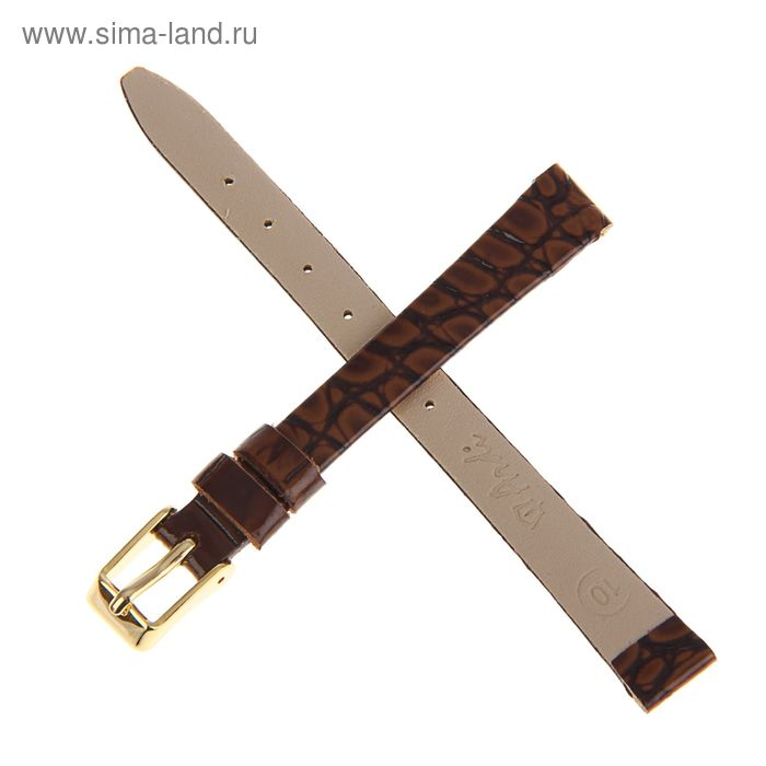 Ремень кожаный женский, присоед. р-р 10 мм, отделка анаконда, светло-коричневый