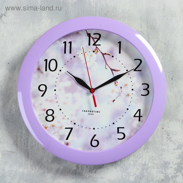 """Часы настенные круглые """"Цветущее дерево"""", сиреневый обод, 29х29 см"""