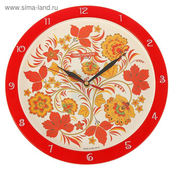 "Часы настенные круглые ""Роспись"", красный обод, 29х29 см"