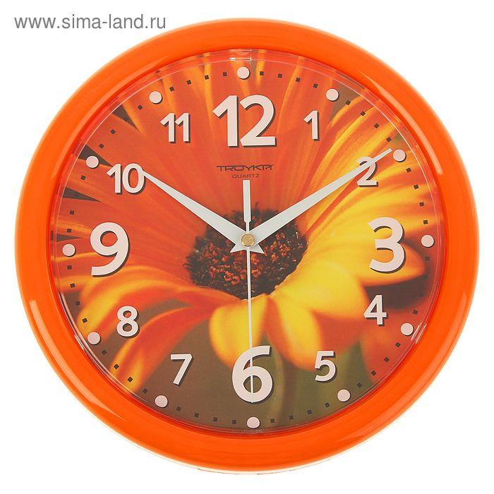"Часы настенные круглые ""Желтый цветок"", оранжевый обод, 24х24 см"