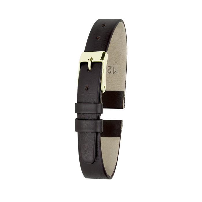 Ремень кожаный женский, присоед. р-р 12 мм, коричневый
