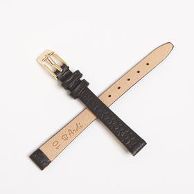 Ремешок для часов, женский, 10 мм, натуральная кожа, фактура питон, темно-коричневый Ош