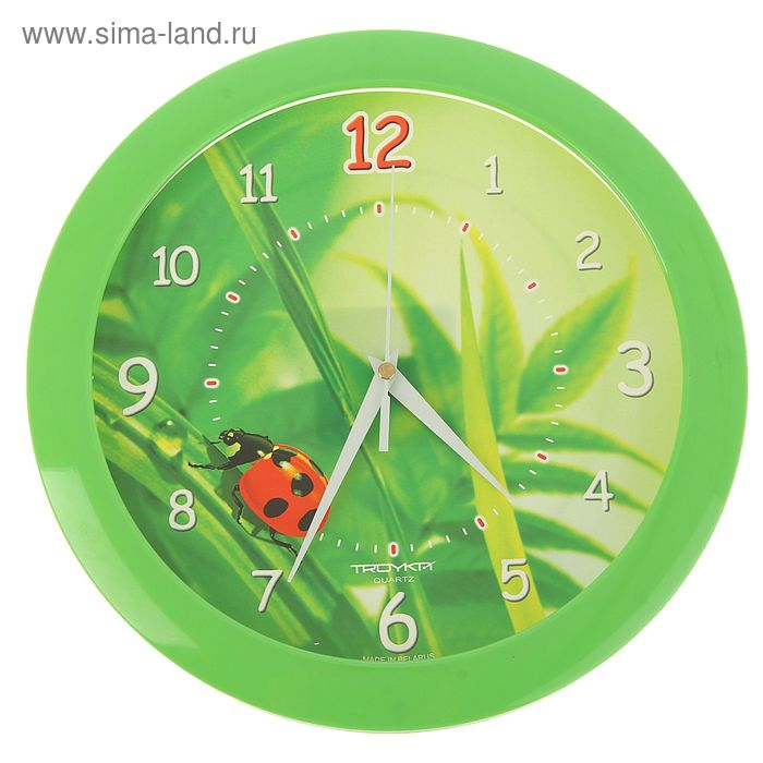 "Часы настенные круглые ""Божья коровка"", зеленый обод, 29х29 см"