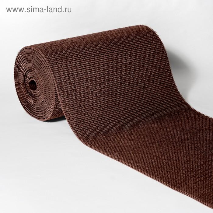 """Покрытие ковровое на основе, щетинистое, ширина 90 см, рулон 15 м """"Травка"""", цвет коричневый"""