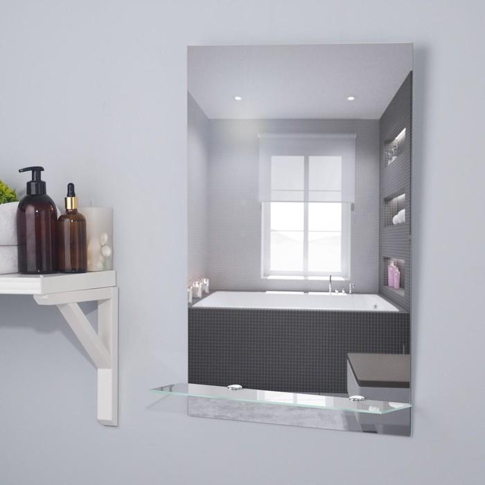 """Зеркало """"Прямоугольник"""" 39х59 см с полочкой"""