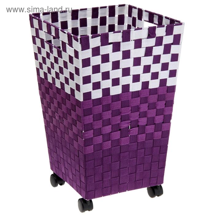 Корзина для белья плетеная на колесах, цвета МИКС