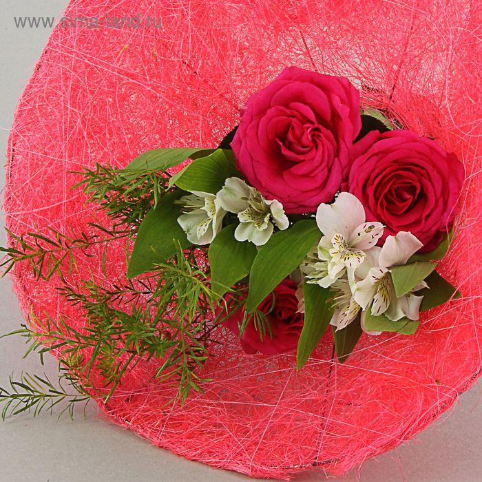 Каркас для букета 35 см, сизаль (гладкий), розовый