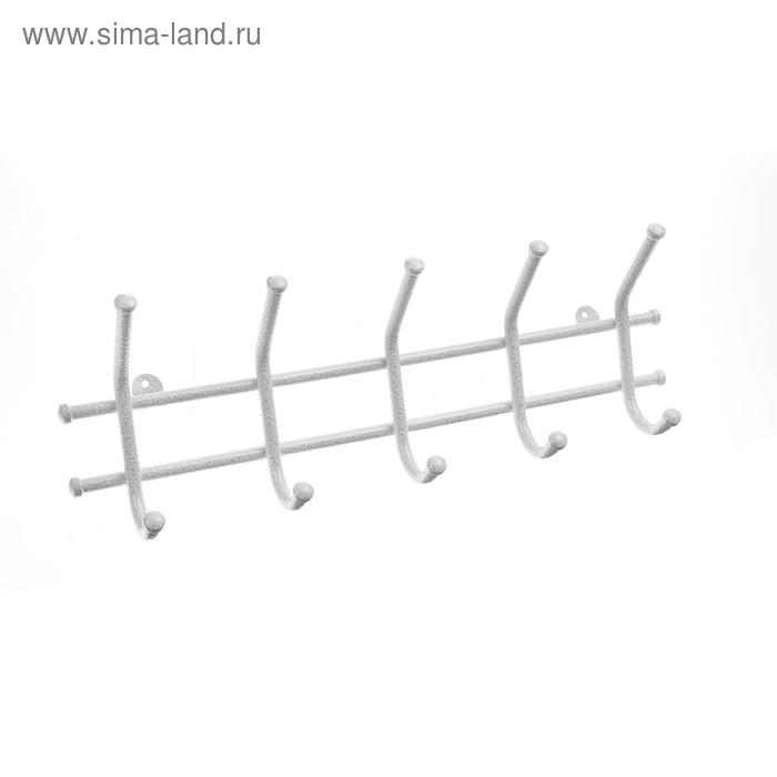 """Вешалка настенная """"Норма-5"""", белое серебро"""