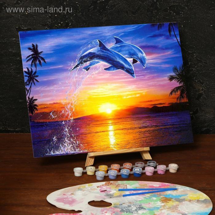 """Роспись по номерам """"Дельфины"""" с красками 14 шт. по 3 мл + кисти, 30х40 см"""