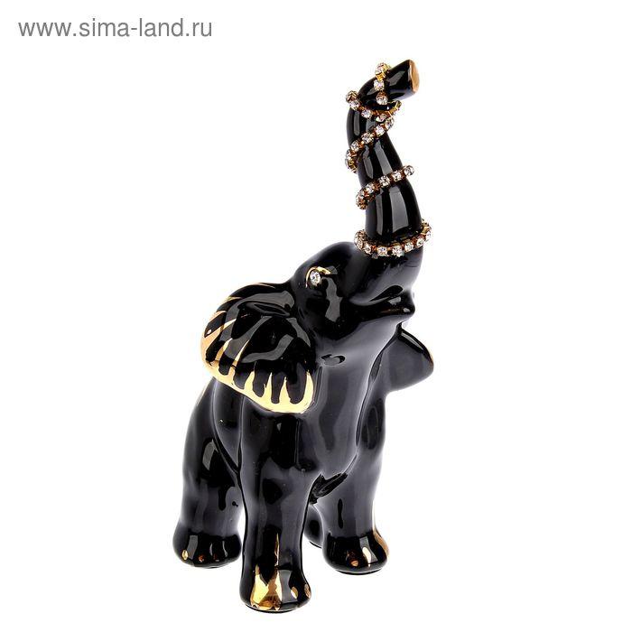 """Сувенир """"Слоник с украшением на хоботе"""" черный, со стразами"""