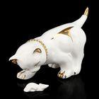 """Сувенир """"Кот с мышкой"""" белый, со стразами"""
