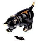 """Сувенир """"Кот с мышкой"""" черный, со стразами"""