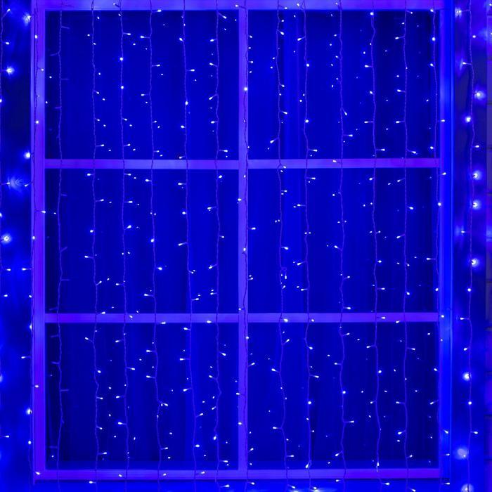 """Гирлянда """"Занавес"""" улич. УМС, Ш:2 м, В:9 м, Н.Б. 3W LED-1800-220V, БЕЗ контр. СИНИЙ"""