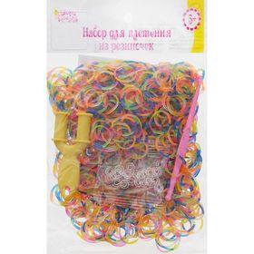 Резиночки для плетения цветомикс, набор 1000 шт., крючок, крепления, пяльцы