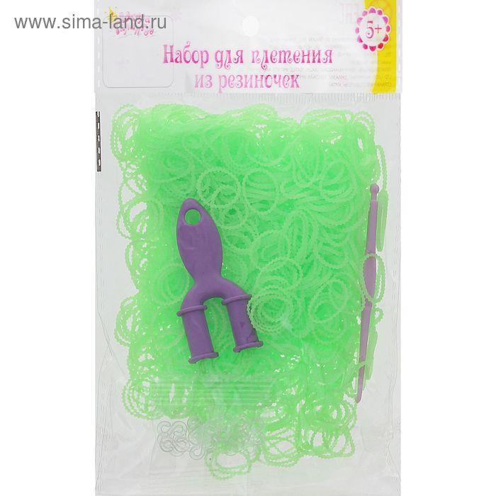 Резиночки для плетения ребристые салатовые, набор 1000 шт., крючок, крепления, пяльцы