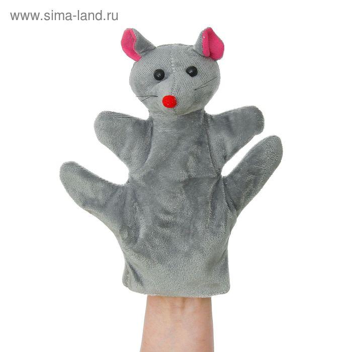 """Мягкая игрушка на руку """"Мышка"""" серый цвет, на 4 пальца"""