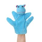 "Мягкая игрушка на руку ""Бегемот"", голубой цвет, на 4 пальца"
