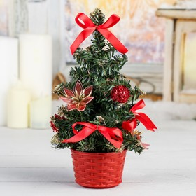 елка декор 20 см красный цветок