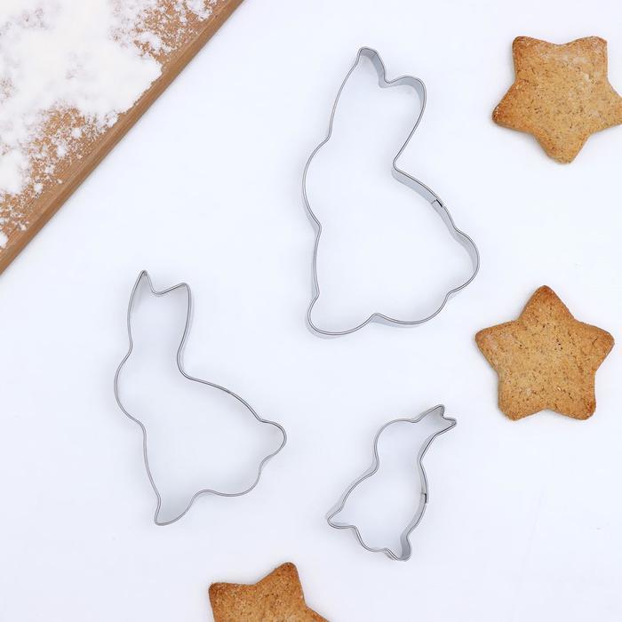 """Набор форм для вырезания печенья 7,5х1,5 см """"Кролик"""", 3 шт"""