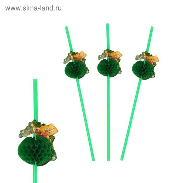 """Трубочка для коктейля гофре """"С Новым годом"""" шарик, набор 6 шт."""