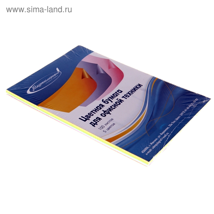 Бумага цветная А4, 100 листов Пастель ассорти 5 цветов по 20 листов, картонная подложка, 80гр/м