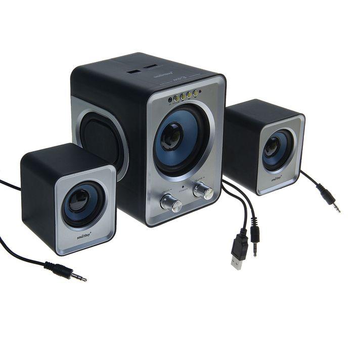 Акустическая система 2.1 SmartBuy BUZZ SBA-2600, 2х1Вт+3Вт, MP3, FM, пульт ДУ, USB черн/сер