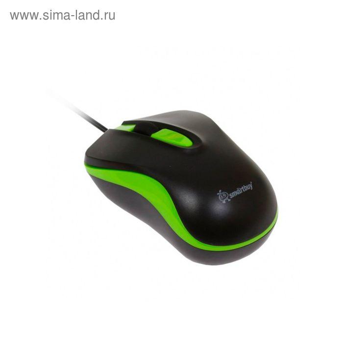 Мышь Smartbuy 317, оптическая, проводная, 1000 dpi, провод 1.6 м, USB, чёрно-зелёная