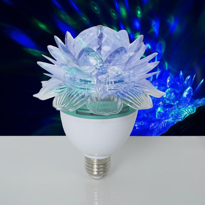 """Лампа-проектор""""Хрустальный Цветок"""" диаметр 12,5 см. эффект зеркального шара Е27, V220 RGB"""