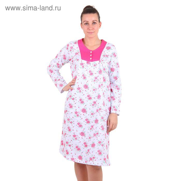 Сорочка женская, цвет белый-розовый, принт МИКС, размер 48 (арт. 30443)