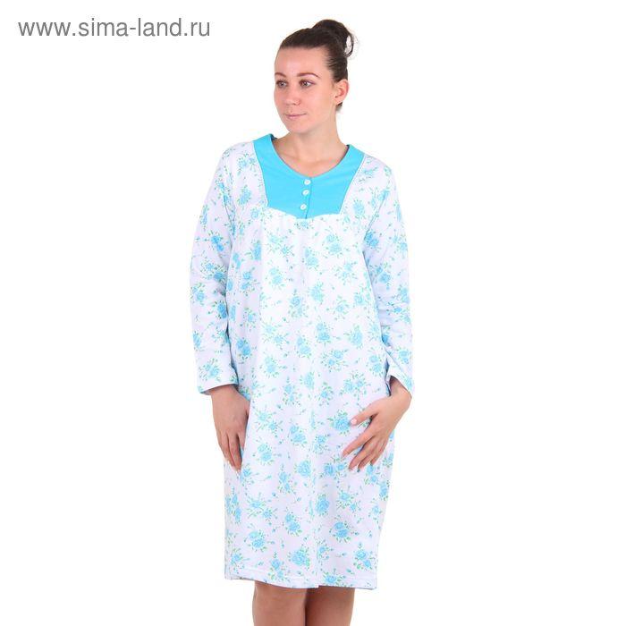 Сорочка женская, цвет белый-голубой, размер 46 (арт. 30443)