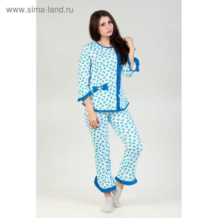 Пижама женская (кофта, бриджи) Аленка футер МИКС, р-р 58