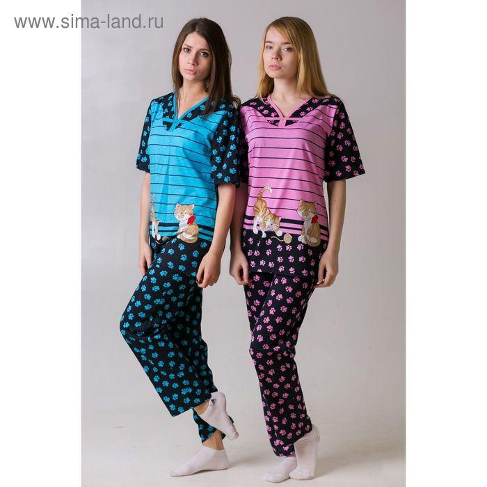Комплект женский (футболка, брюки) Лапки голубой, р-р 52